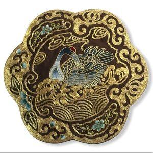 Vintage Asian silk roundel hand embroidered crane